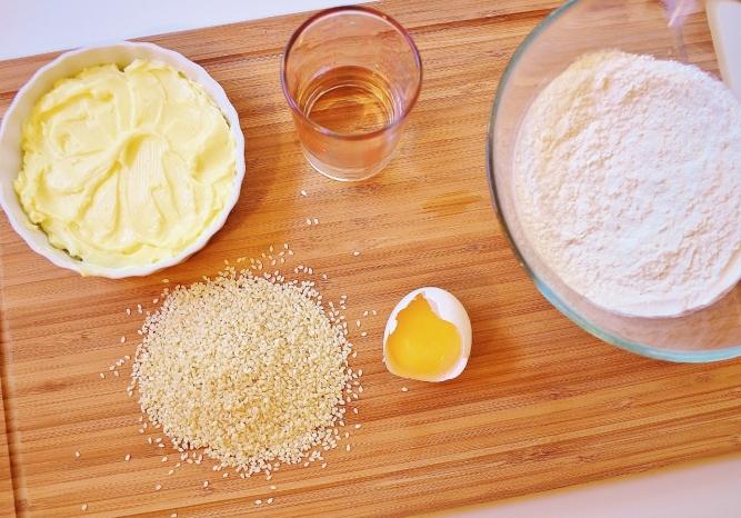 ingrédients de la pâte au sésame