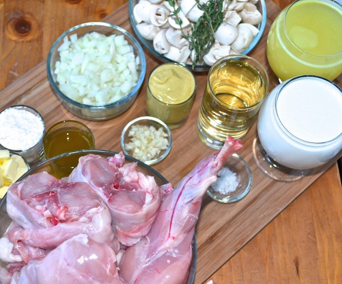 Ingredients for Rabbit in mustard sauce