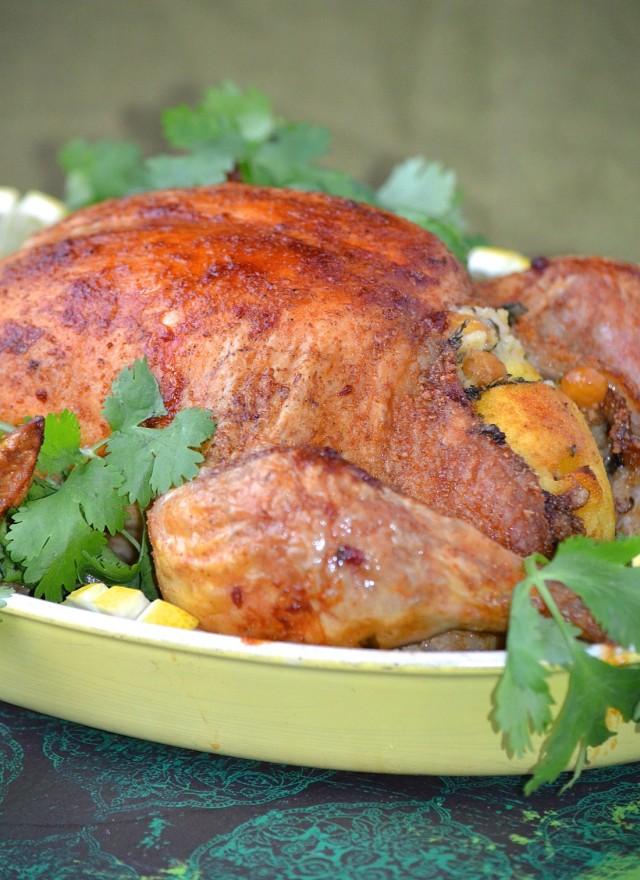 poulet rôti farci au couscous