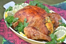 Poulet farci au couscous / roast chicken stuffed with couscous