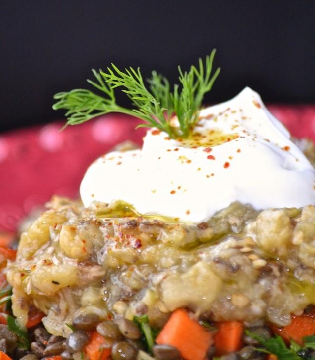 Lenteilles et aubergine grillée - Lentils and broiled eggplant --- www.catherinecuisine.com