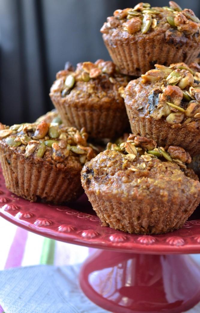 """Muffins """"gâteau aux carottes"""" au son d'avoine"""