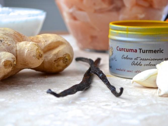 Poulet au lait de coco et à la vanille - Chicken with coconut milk and vanilla bean